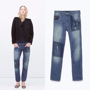 Zara Contrast Pocket Patch BF Distressed Mid Rise